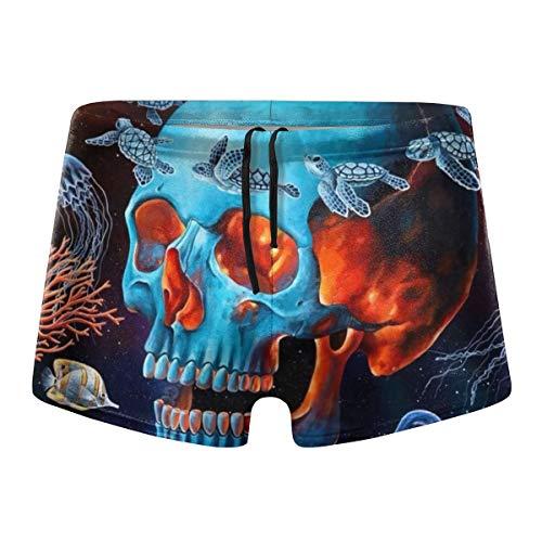 Sugar Skull Underwater Octopus Jellyfish Men's Swimming Trunks Pants Boxer Brief Tigh Shorts Fitness Swimwear Swimsuit Black]()