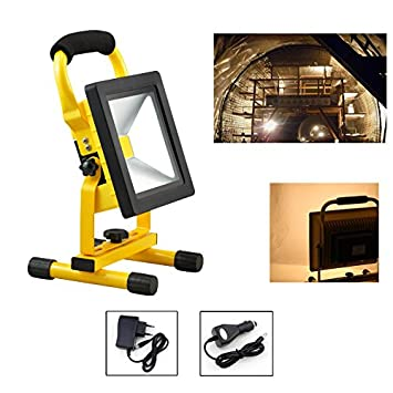 HG/® 20W Warmwhite LED Bater/ía Proyectores Luces de trabajo Sitelamp Handlamp Campinglamp Proyectores exteriores recargables