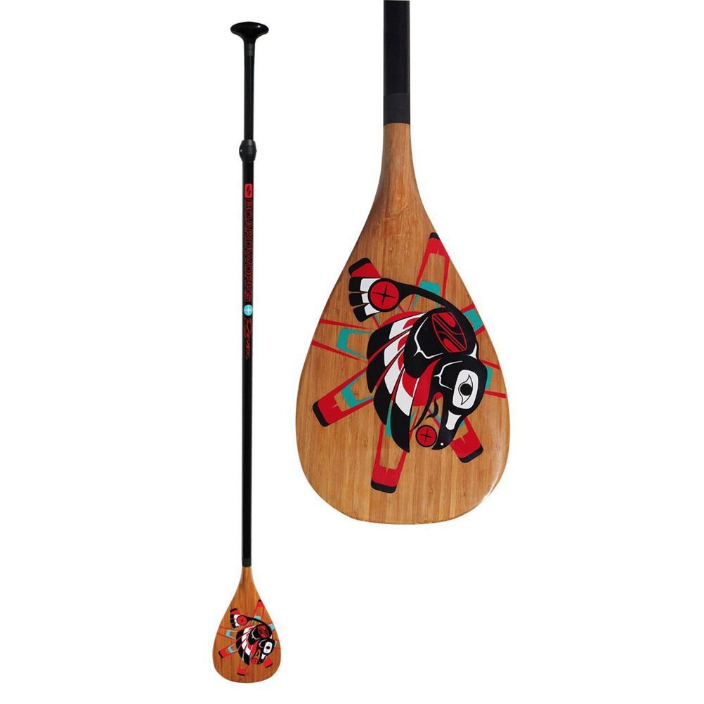 Boardworks Raven Wood Veneer Blade/Carbon Adjustable Shaft, Stand Up Paddle Board Paddle - Raven Graphics - 74 inches to 90 inches