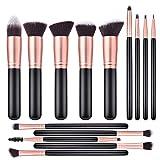 ITME Makeup Brushes 14 Pcs Premium Synthetic Foundation Powder Concealers Eye Shadows Makeup Brush Sets (Black Rose Golden)
