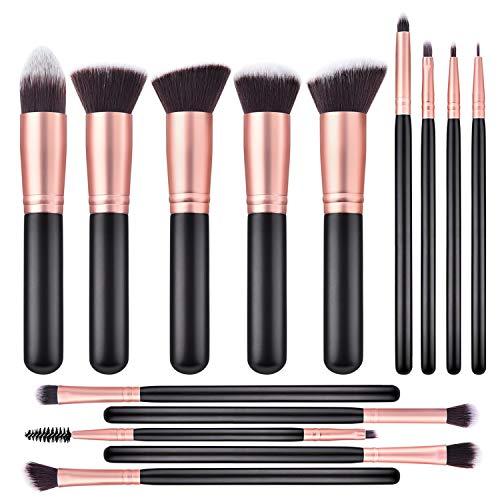 ITME Makeup Brushes 14 Pcs Premium Synthetic Foundation Powder Concealers Eye Shadows Makeup Brush Sets (Rose Golden)