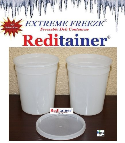 Reditainer Extreme Freeze Deli Food Containers with Lids, 32-Ounce, 24-Pack by Reditainer