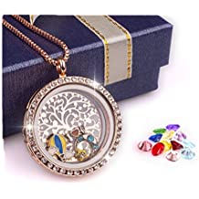 Family Tree of Life Floating Charm Living Memory Locket Pendant Magnetic Closure Necklace with Birthstone