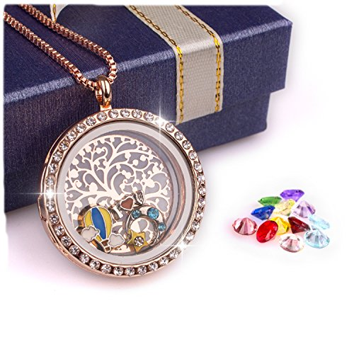 Rose Gold,Family Tree of Life Floating Charm Living Memory Lockets Magnetic Closure Necklace All Birthstone Charms Include(Rose Gold)