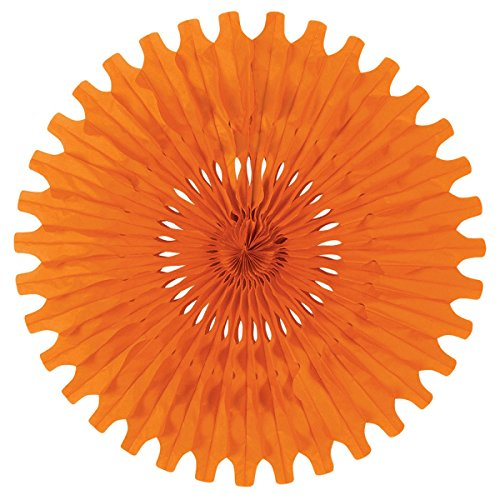Club Pack of 12 Orange Tissue Fan Hanging Decorations ()