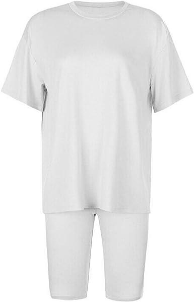 Women/'s Ladies Plain T-Shirt Cycling Shorts 2PCS Co ord Active Gym Set Tracksuit