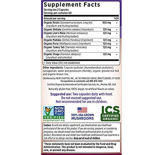 New Chapter Reishi Mushroom – LifeShield Immune Support with Organic Reishi Mushroom Vegan Non-GMO Ingredients – 120 ct Bundle with a Lumintrail Pill Case