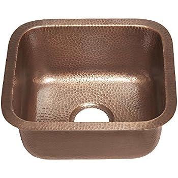 Sinkology Sisley 17 Inch Bar Prep Copper Sink In Hammered Antique Copper