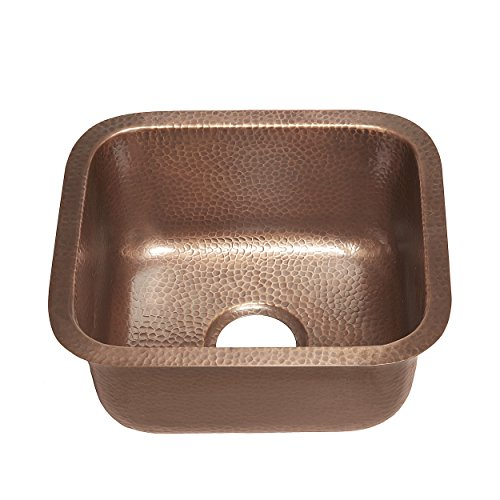 Sinkology Sisley 17-inch Bar Prep Copper Sink in Hammered Antique copper (Hammered Sink Copper)
