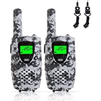 FAYOGOO Kids Walkie Talkies, 22-Channel FRS/GMRS Radio, 4-Mile Range Two Way Radios with Flashlight and LCD Screen. 2 Pack, Camo Gray