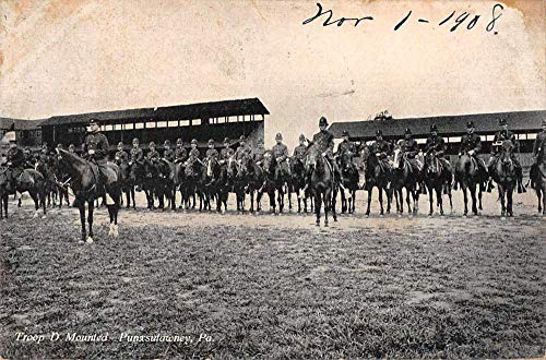 Punxsutawney Pennsylvania Troop D Mounted US Military Calvary Postcard AA246