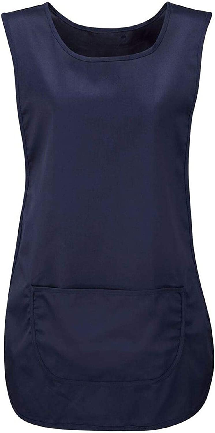 Ladies Plain Pocket Apron Womens Vest Top Work Wear Round Neck Catering Tabard