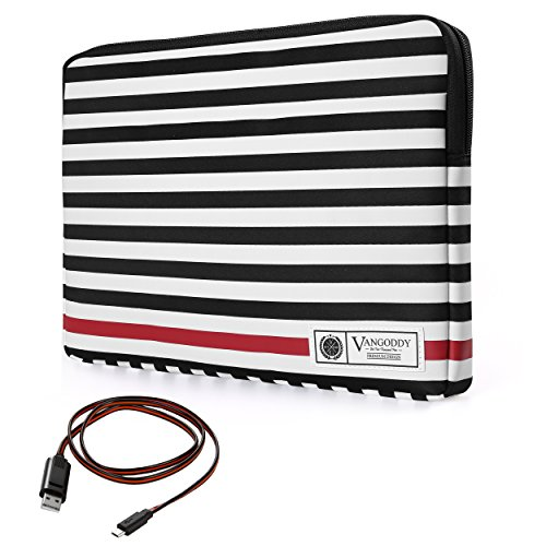 """Vangoddy Luxe R Series Black White Stripe Padded Sleeve for HP Chromebook 11 / EliteBook / Pavilion X2 / ProBook 430 / Spectre x2 / Stream 11 Series 10.1"""" to 13.3"""" Tablet Laptop + Micro USB Cable -  8907478044647"""