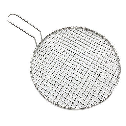 InBlossoms Stainless Steel Cross Wire Round Steaming Cooling Barbecue Racks With Handle For BBQ Korea Carbon Baking Net