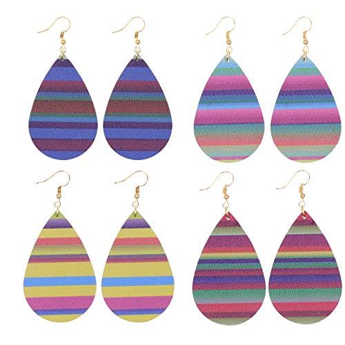 KSQS Leather Teardrop Earrings Set Petal Leaf Drop Earrings Soft and Lightweight Dangle for Women&Girls