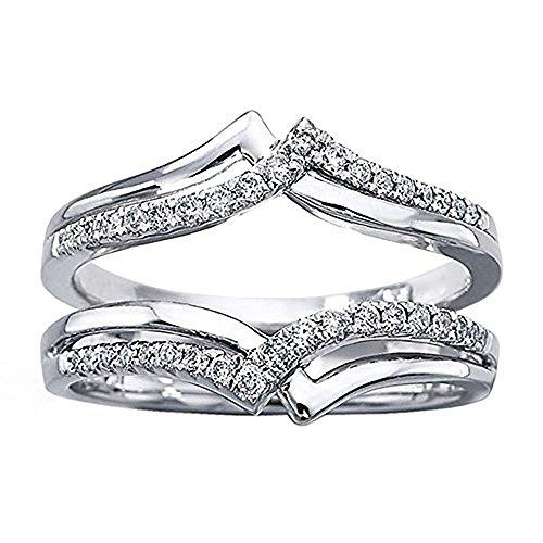 tusakha 14k White Gold Plated 1/4ct Round Simulated Diamonds Double-Row Enhancer Wedding Ring Wrap Guard