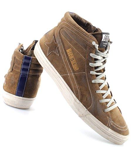 Golden Goose Scarpe Sneakers Alte Uomo Slide G29MS595O8 Green Leather Bluette IT