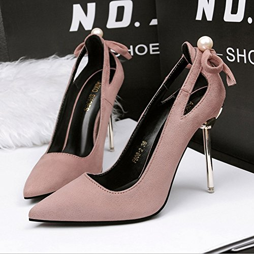 Low Shoe High Hollow Summer Street Pure Fashion JIANFCR Autumn Heels Help Pearl Stilettos Female Spring And Color Pink Suede YpAWvWw71