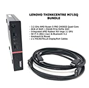 LENOVO THINKCENTRE M715Q (2ND GEN) - Tiny - 3.2 GHz RYZEN 5 PRO 2400GE Quad-Core - 8GB RAM - 256GB SSD WIN10 Pro Business Desktop with Microtella DisplayPort Cables