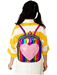 Rainbow Holographic Laser Mirror Leather Backpack Transparent Heart Beach Grils School Bag (Gold)