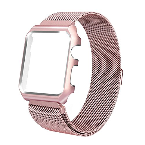 Price comparison product image Apple Watch Band with Case 42mm,  Boofab Stainless Steel Mesh Milanese Loop with Adjustable Magnetic Closure Replacement Wristband iWatch Band for Apple Watch Series 3 / 2 / 1 42mm (Rose Gold)
