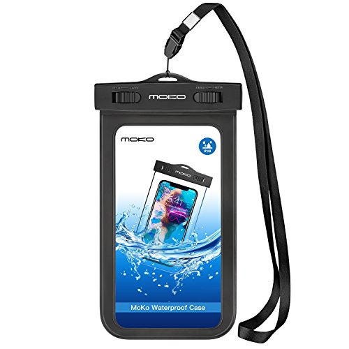 Apple Iphone 3g Snap - Universal Waterproof Phone Case, MoKo IPX 8 Waterproof Phone Pouch Dry Bag with Armband & Neck Strap for iPhone X/8 Plus/8/7/6S Plus, Samsung, BLU, MOTO - BLACK