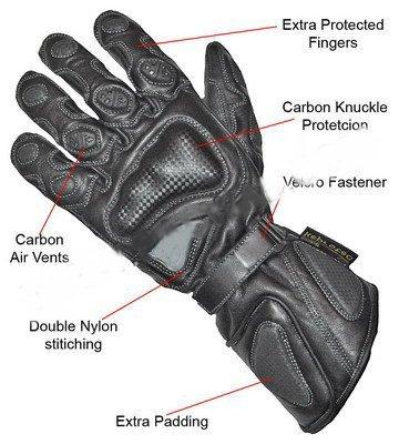Spaceiz Heavy Duty Cowhide Leather Zeus Winter Black Motorbike Motorcycle Biker Gloves Black