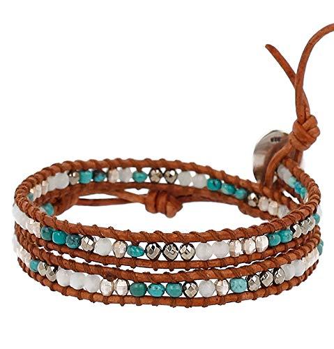 Chan Luu Aqua Mix and Silvertone Nugget Beaded Dark Brown Leather Wrap Bracelet