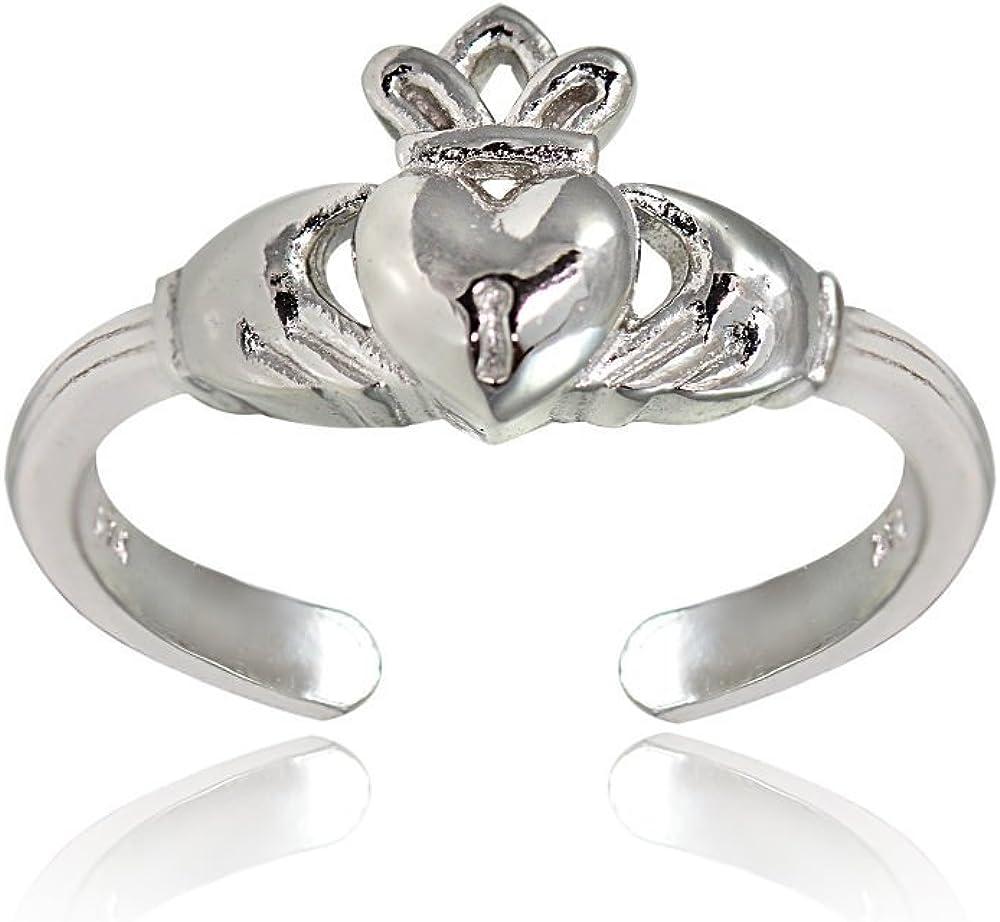 Hoops /& Loops Sterling Silver Claddagh Toe Ring