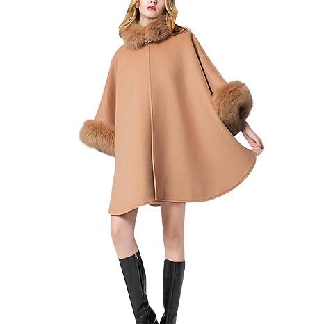 Abrigo Mujeres, toamen Flare Sleeve Cape abrigo largo Pardessus Cape chal falso collar de piel