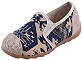 VECJUNIA Boy's Girl's Canvas Loafer Shoes Cap Toe Non-Slip Chinese Style Costume (Blue, 9 M US Toddler)