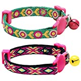 Blueberry Pet Pack of 2 Embroidered Floral and Geometrical Pattern Breakaway kitten Cat Collar with Bell