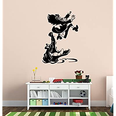 aluckyhorseshoe Peter Pan's Captain Hook and Tic Tock Decal Never Land Decal Peter Pan Decor Children Decor Nursery Decor Boys Room Girls Room (18 X 27 inches): Baby