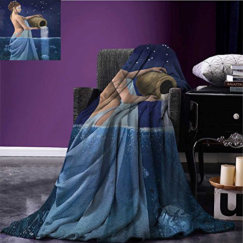 Astrology outdoor blanket Aquarius Lady with Pail in the Sea Water Signs Saturn Mystry at Night Stars Custom made Blue Dark Blue size:59