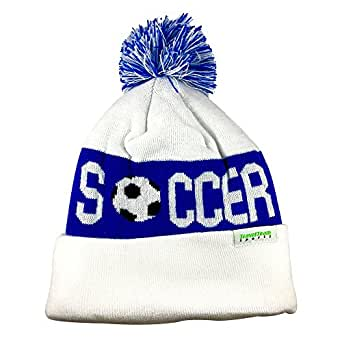 TravelTeamSports Pom Pom Youth/Teen Knitted Fleece Lined Beanie Hats w/Soccer logo (Blue/White)