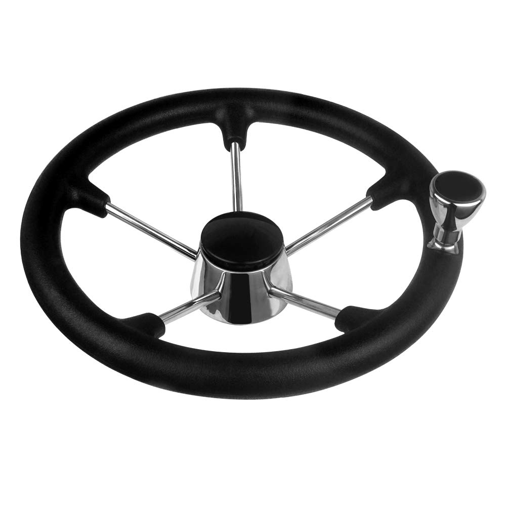 Hoffen Destroyer Style Stainless Steel Steering Wheel 13-1/2 Inch with Black Foam Grip and Knob by Hoffen