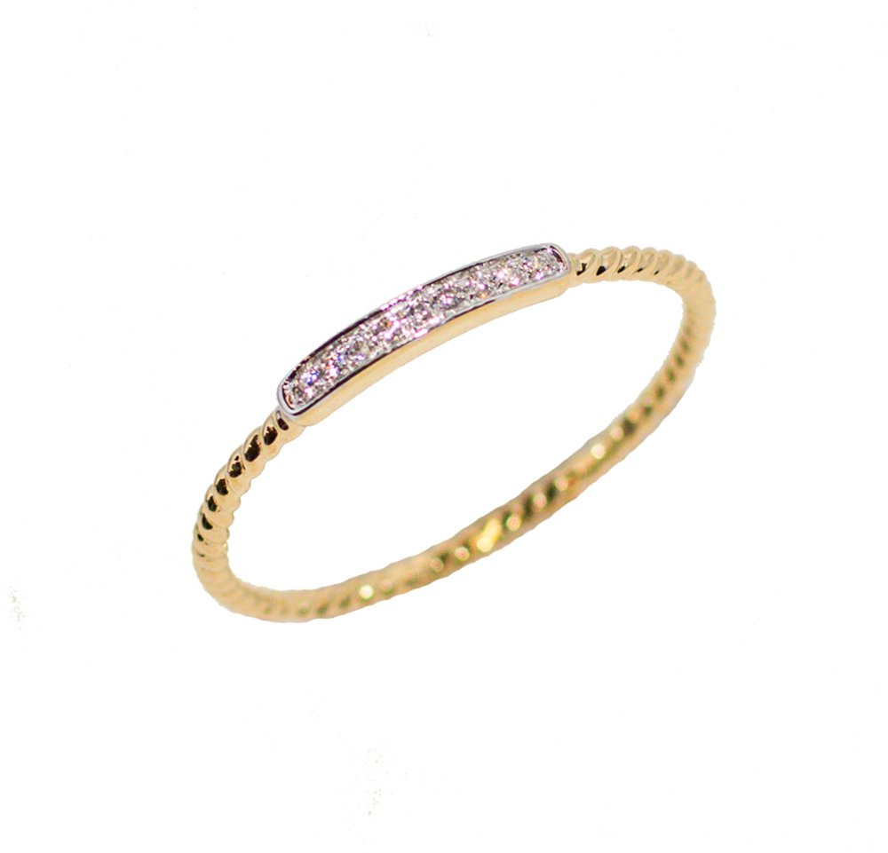 LooptyHoops 14K Yellow Gold Cubic Zirconia Stackable Rope Band Ring Size 7.5