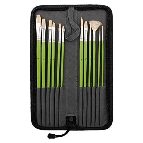 US Art Supply 12-Piece Long Handle Bristle Hair Artist Oil P