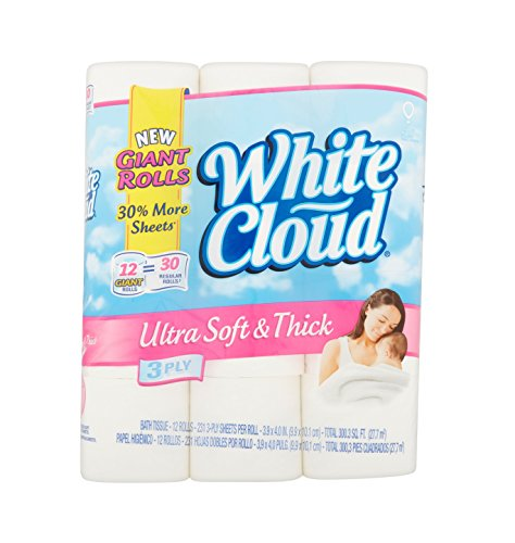 White Cloud Bath Tissue Toilet Paper Ultra Soft and Thick 12