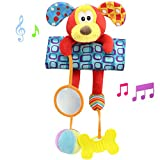 Daisy Baby Infant Plush Puppy Animal Rattle Stroller Activity Bar Crib Mobile Toy Car Seat and Bed Hanging Early Educational Toy with Mirror Teether