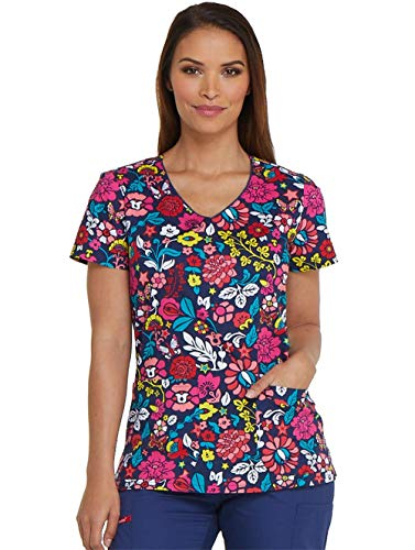 Dickies EDS V-Neck Scrub Top, M, Folklore Floral