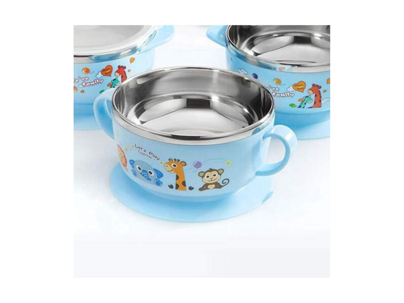 Yuchoi Contemporary Animal Pattern Baby Feeding Bowl Anti-Scald Stainless Steel Children Dish Insulation Bowl with Lid and Double Handles for Kids Students(Blue) by Yuchoi (Image #3)