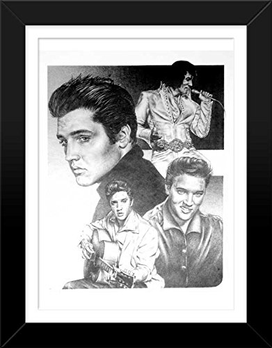 Elvis presley original sketch prints framed black white features elvis over several