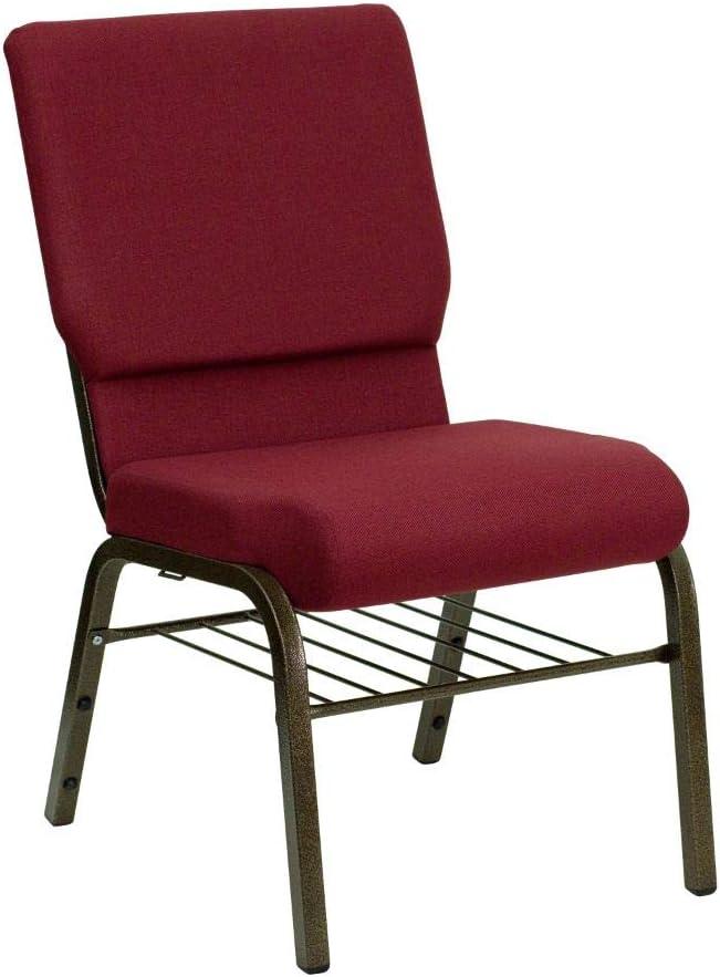 Flash Furniture HERCULES Series 18.5''W Church Chair in Burgundy Fabric with Book Rack - Gold Vein Frame