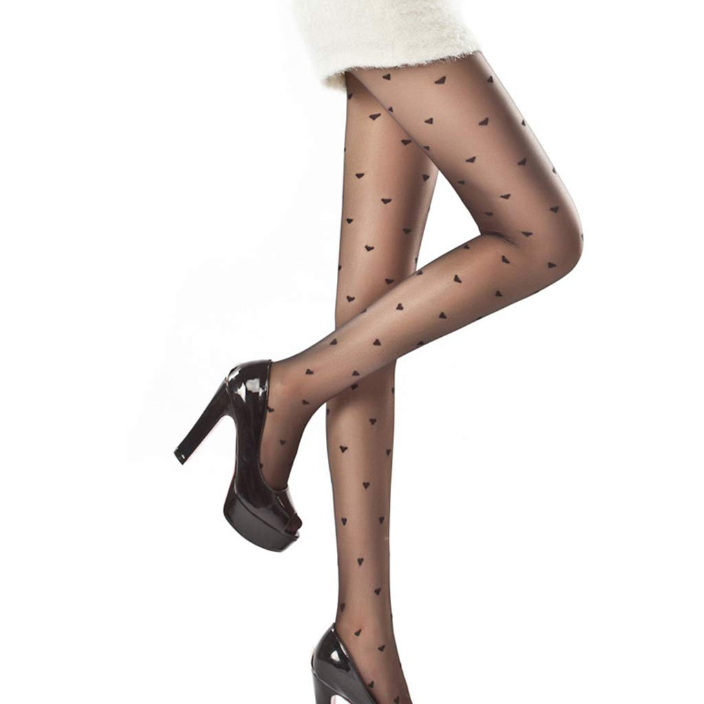 VIccoo Womens Sexy Vintage Heart Polka Dot Print Pantyhose See-Through Tights Stockings Seamless Jacquard Fishnet Mesh Party Lingerie - Black