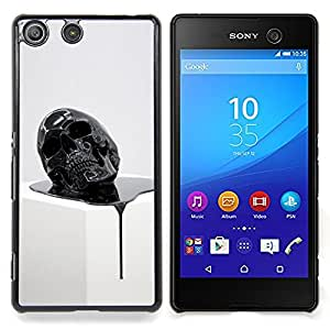 - Skull Paint Black 3D Artistic Death - - Snap-On Rugged Hard Cover Case Funny HouseFOR Sony Xperia M5