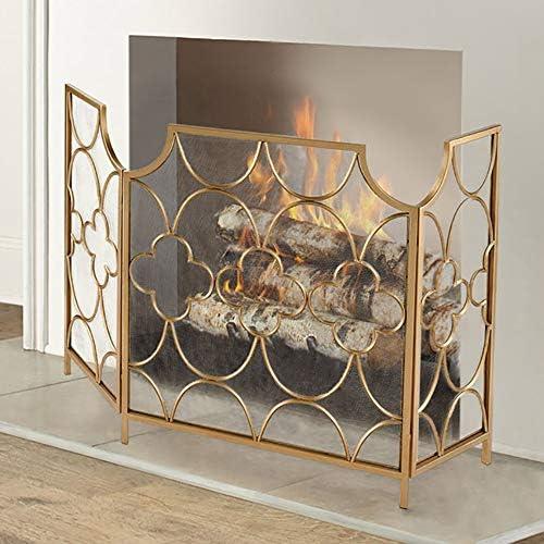 暖炉スクリーン MYL/ユーズドアンティークゴールド仕上げ、自立スパークガードプロテクター門のw/折りたたみパネルのw 3-パネル錬鉄メッシュ暖炉スクリーン (Color : Gold)