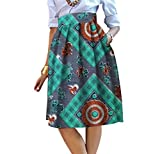 neveraway Womens Pocket Dashiki Africa Highwaist Big Pendulum A Line Skirts 13 M