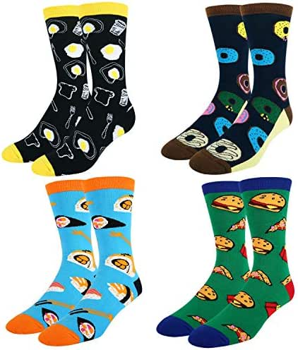 Men's Novelty Funny Crazy Food Socks, Taco Donut Sushi Pizza Pattern with Gift Box
