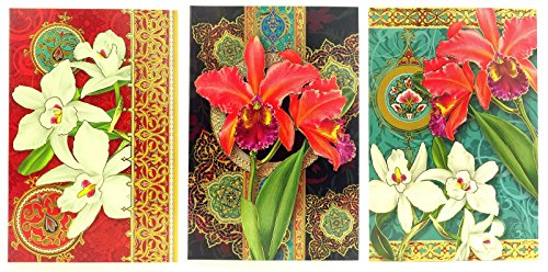 93455 Punch Studio Note Card Set (12) Fire Orchid Trio in Vinyl Pouch, Exotic (Exotic Vinyl)